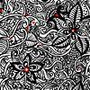 Schwarz Weiß Zentangle - Zendoodle Blumenmuster von Patricia Piotrak Miniaturansicht