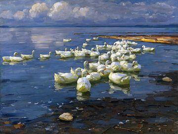 Eenden in het meer, ALEXANDER KOESTER, rond 1909-1913