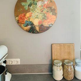 Klantfoto: Stilleven met vruchten, Jan van Huysum, als ronde print