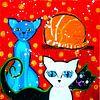 katten met rode achtergrond van Nicole Roozendaal thumbnail