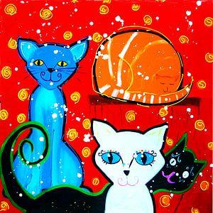 katten met rode achtergrond van Nicole Roozendaal