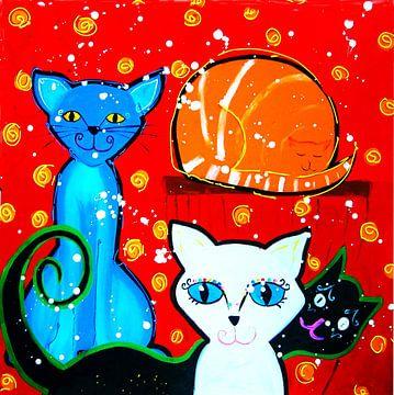 Katzen mit rotem Hintergrund von Nicole Roozendaal