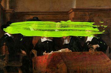 Les Maîtres de l'acier de Rembrandt van Rijn avec une subtile tache de peinture verte sur Maarten Knops