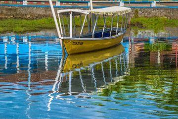 Vissersboot die op de banken van Rio das Almas in de stad van Taperoa, Bahia Brazilië wordt vastgele van Castro Sanderson