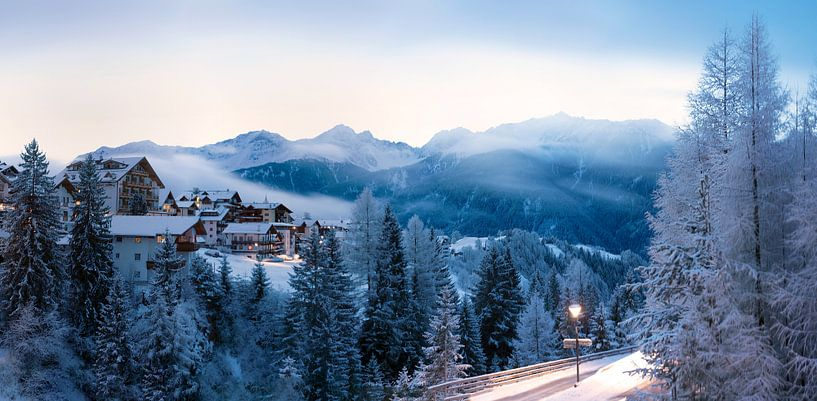 Panorama van Serfaus, Oostenrijk van Christa Thieme-Krus