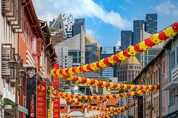 Singapore Chinatown en wolkenkrabber landschap van Christoph Hermann