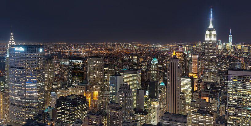 Midtown East, Manhattan vanaf Top of de Rock (Rockefeller Center) van Mark De Rooij