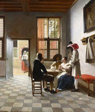 Kartenspieler in einem sonnenbeschienenen Raum (1658) - Pieter de Hooch