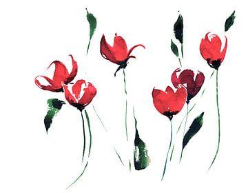 Rote Blüten van Jitka Krause