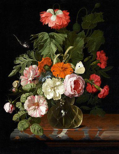Isaac Denies, Stilleven met bloemen met een slak en libel van