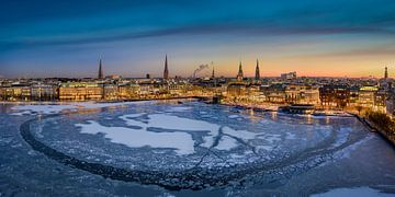 Winter zonsondergang skyline van Hamburg van Michael Abid
