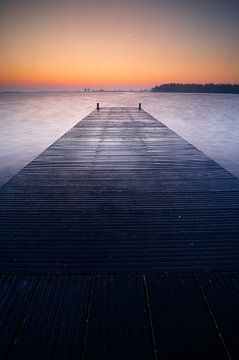 Niederländische Seen vor Sonnenaufgang von Dirk-Jan Steehouwer