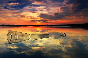 Zaunreste in einem See