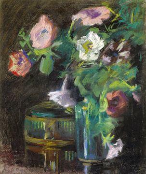 John La Farge~Stilleben von Petunien in einer Glasvase