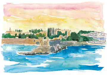 Rhodos Griechenland Wasserfront mit Großmeisterpalast von Markus Bleichner