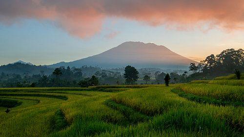 Zonsopkomst over Vulkaan Gunung Agung bij Sidemen