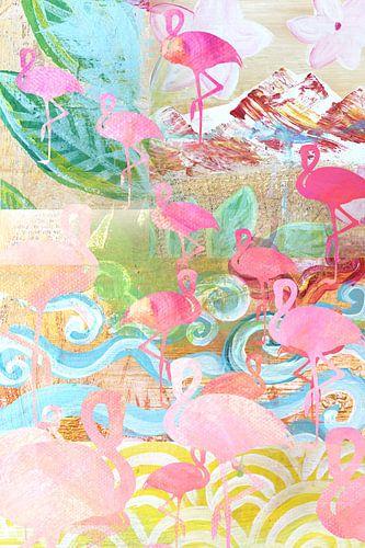 Flamingos Collage von Green Nest