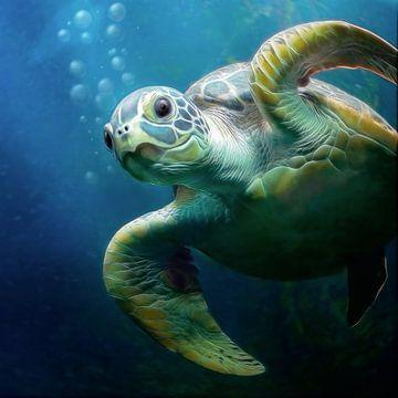 Bubbles de zeeschildpad van Silvio Schoisswohl