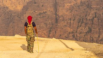 Gids wandelt in canyon van Dana Nature Reserve (Jordanië) van Jessica Lokker
