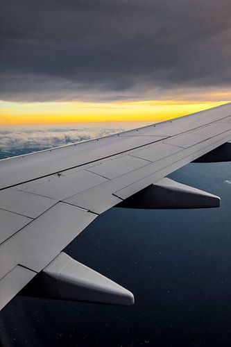 Vliegtuig vleugel met zonsopkomst van Inge van den Brande