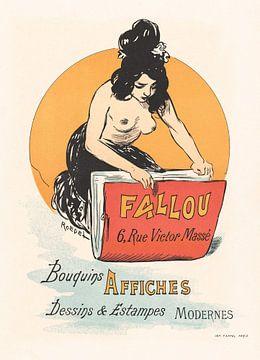 Oben-ohne-Frau in einer Plakatbuchhandlung, Auguste Roedel (1869-1900) von Atelier Liesjes