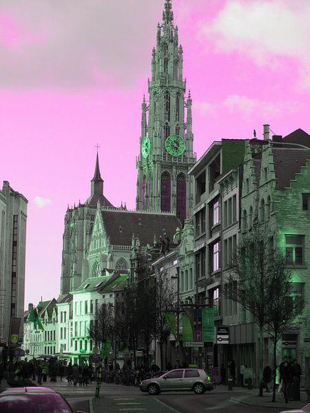 Tower in Antwerpen van Nicky`s Prints