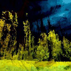 Nachtelijke bomenrij in de Biesbosch van Peter Baak