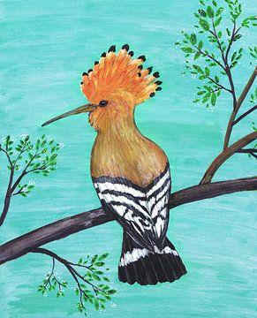 Hop vogel schilderij van Bianca Wisseloo