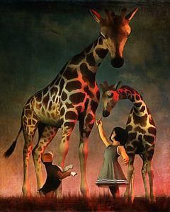 Een meisje met een puppy en de giraffen in de zoo.