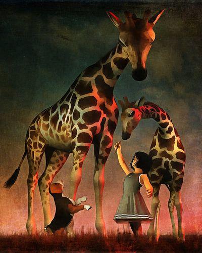 Een puppy en de giraffen