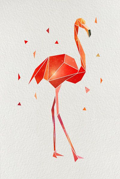 Flamingo Low Poly van Felix Brönnimann