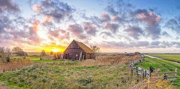Panorama zonsondergang op Texel / Panoramic photo Texel sunset van Justin Sinner Pictures ( Fotograaf op Texel)