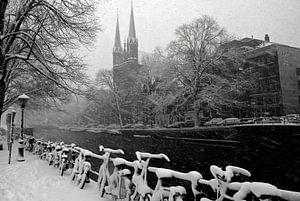 Amsterdam  Singel winter sneeuw