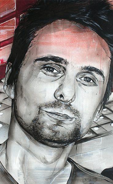 Matthew Bellamy, (MUSE) schilderij van Jos Hoppenbrouwers
