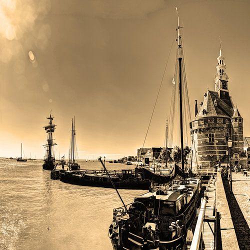 Hoorn Haven Noord-Holland Nederland Sepia