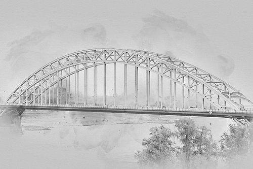 Waalbrug Nijmegen in zwart-wit