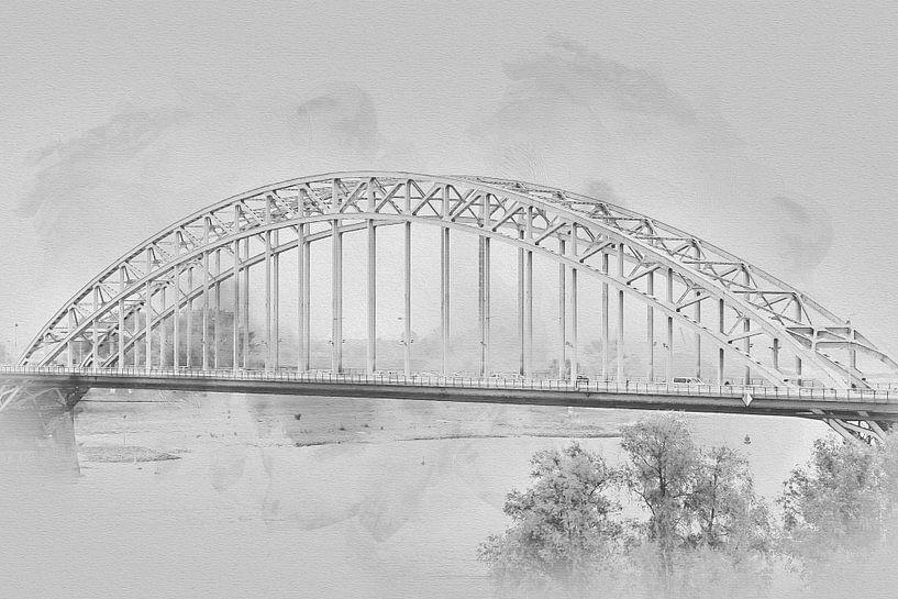 Waalbrug Nijmegen in zwart-wit van Art by Jeronimo