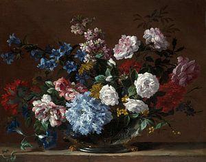 Een stilleven van bloemen in een vaas op een stenen richel, Jean-Baptiste Monnoyer