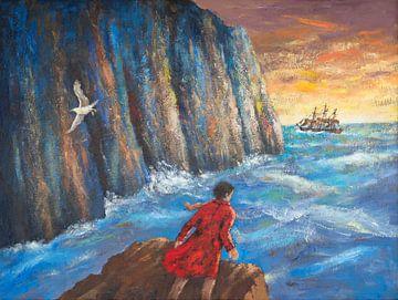 De rode man op de kliffen van Galerie Ringoot