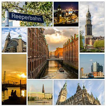 Collage Stad Hamburg met Speicherstadt Michel Stadhuis Elbe Alster van Dieter Walther