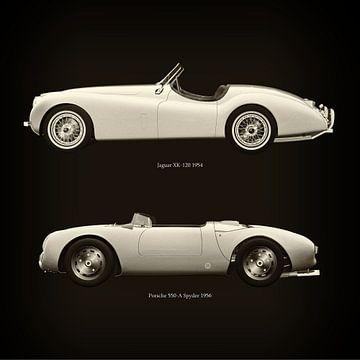 Jaguar XK-120 1954 en Porsche 550-A Spyder 1956