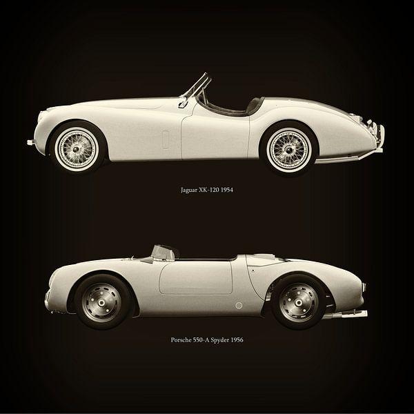 Jaguar XK-120 1954 en Porsche 550-A Spyder 1956 van Jan Keteleer