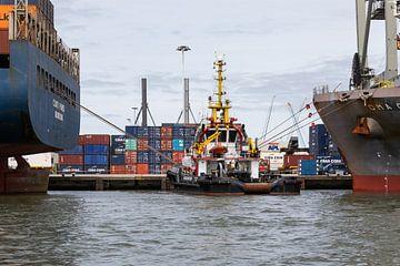 De sleepboot in de Rotterdamse Waalhaven van