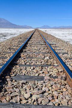 Eisenbahn über die Salinen in Uyuni, Bolivien von Ramon Van Gelder