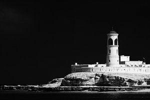 Vuurtoren in haven van Sur in Oman van