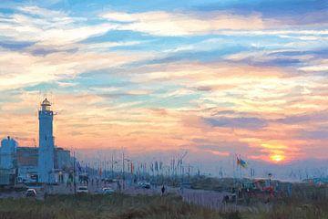 Leuchtturm von Noordwijk mit einem Sonnenuntergang von eric van der eijk