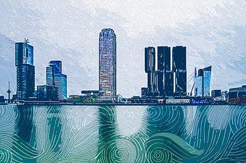 Rotterdam Kop van Zuid Impressionismus von Arjen Roos