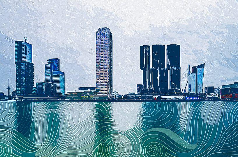 Rotterdam Kop van Zuid Impressionism van Arjen Roos