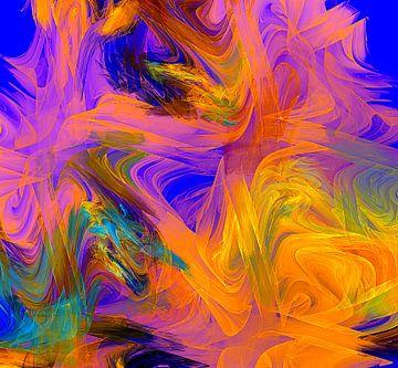 Oranje, Blauwe kleur rush van Werner Hilpert
