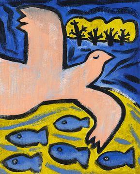 vogel, paard en vissen (1) van Ivonne Sommer